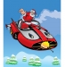 Santa flying in Supercar